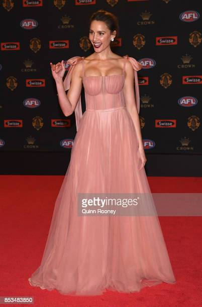 Rachael Finch arrives ahead of the 2017 Brownlow Medal at Crown Entertainment Complex on September 25 2017 in Melbourne Australia