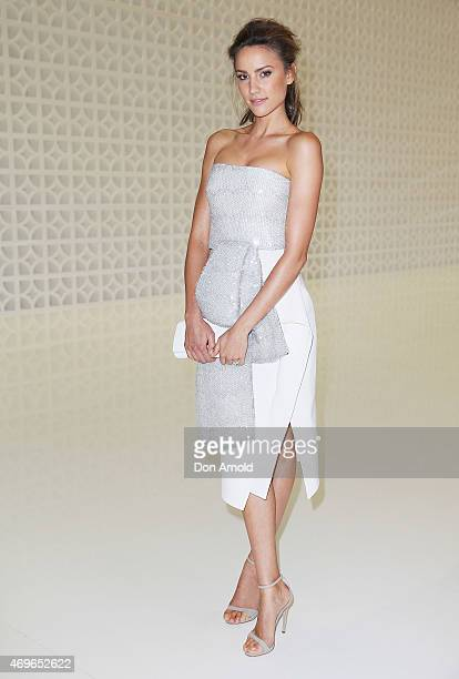 Rachael Finch attends the Maticevski show at MercedesBenz Fashion Week Australia 2015 at Bay 25 Carriageworks on April 14 2015 in Sydney Australia