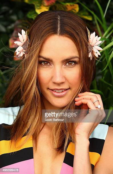 Rachael Finch poses at the Myer Marquee on Melbourne Cup Day at Flemington Racecourse on November 3 2015 in Melbourne Australia