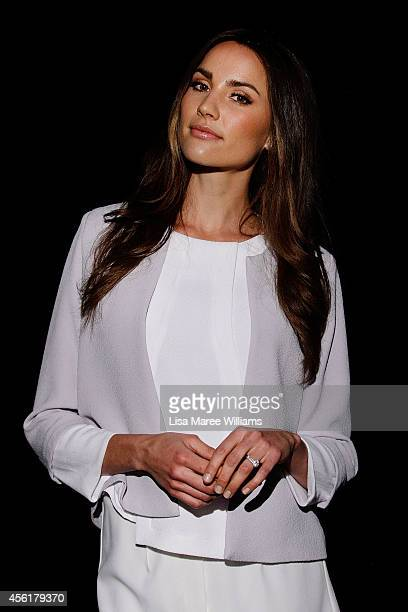 Rachael Finch poses backstage ahead of the Target show during MercedesBenz Fashion Festival Sydney at Sydney Town Hall on September 27 2014 in Sydney...