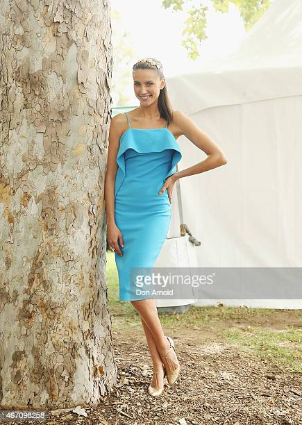 Rachael Finch poses during Golden Slipper Day at Rosehill Racecourse on March 21 2015 in Sydney Australia