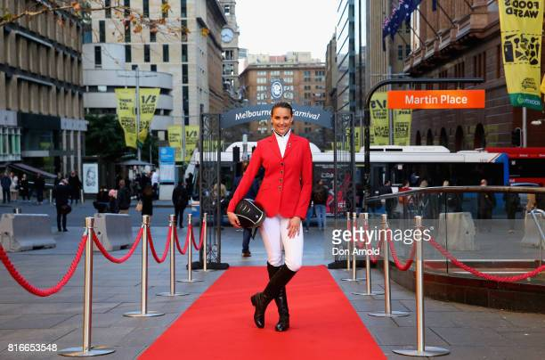 Rachael Finch poses during the 2017 Melbourne Cup Tour Activation at Martin Place on July 18 2017 in Sydney Australia