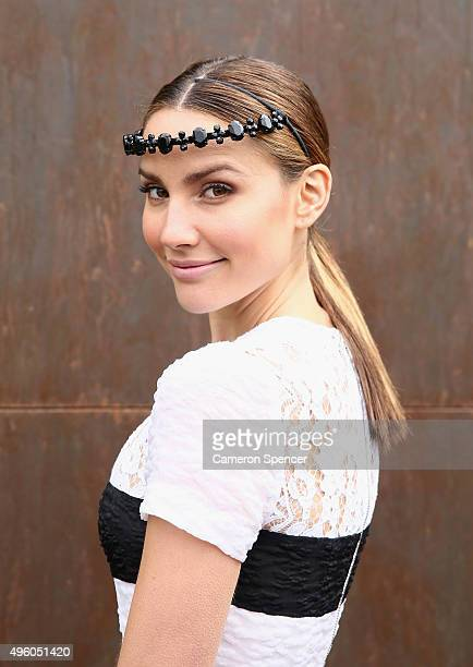 Rachael Finch poses in the Birdcage on Stakes Day at Flemington Racecourse on November 7 2015 in Melbourne Australia