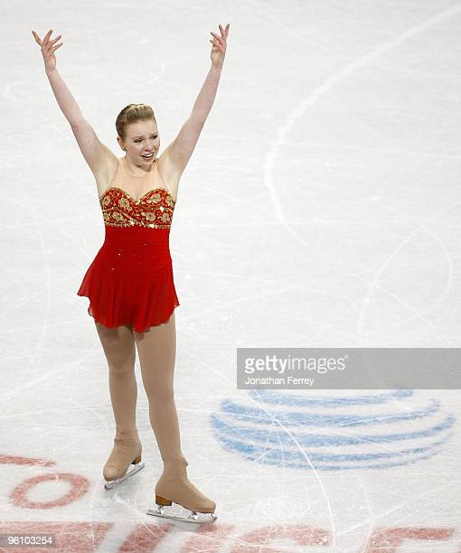 Rachael Flatt celebrates after skating the ladies' free skate to win the finish first and win the gold medal at the US Figure Skating Championships...