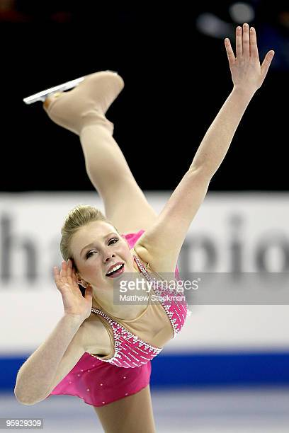 Rachael Flatt competes in the ladies short program during the US Figure Skating Championships at Spokane Arena on January 21, 2010 in Spokane,...
