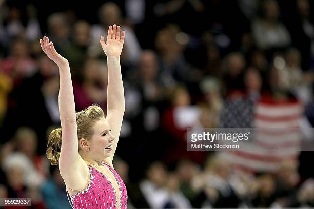 Rachael Flatt finishes her routine while competing in the ladies short program during the US Figure Skating Championships at Spokane Arena on January...