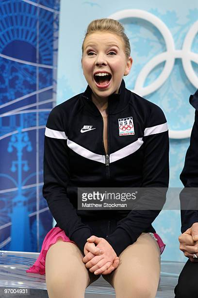 Rachael Flatt of the United States reacts after competing in the Ladies Short Program Figure Skating on day 12 of the 2010 Vancouver Winter Olympics...