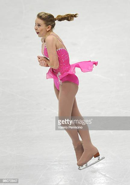 Rachael Flatt of USA competes during the Ladies Short Program at the 2010 ISU World Figure Skating Championshipson March 26 2010 in Turin Italy
