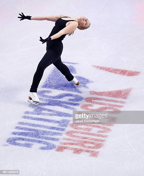 Rachael Flatt practices ahead of the 2014 Prudential US Figure Skating Championships at TD Garden on January 8 2014 in Boston Massachusetts