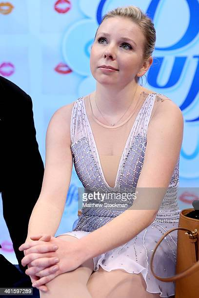 Rachael Flatt watches her scores from the kiss and cry after the short program during the Prudential US Figure Skating Championships at TD Garden on...