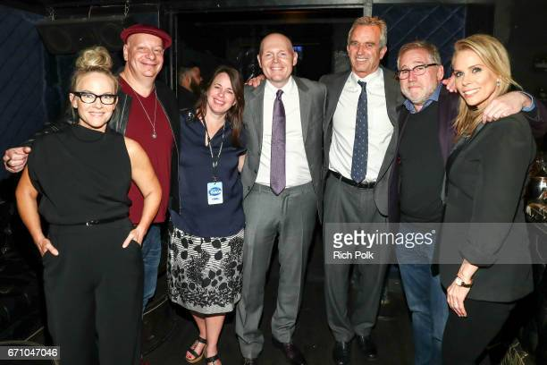 Rachael Harris Jeff Ross Mary Beth Postman Bill Burr Rober F Kennedy Jr Bill Binder and Cheryl Hines pose for a photo back stage at 'Keep It Clean'...