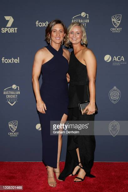 Rachael Haynes and partner Leah Poulton arrive ahead of the 2020 Cricket Australia Awards at Crown Palladium on February 10 2020 in Melbourne...
