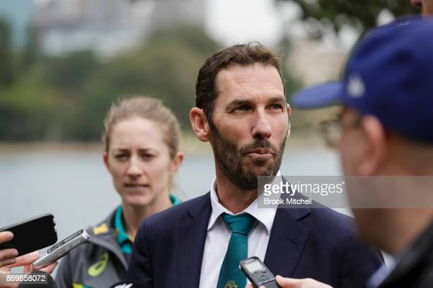 Rachael Haynes and Shawn Flegler address the media during the Australian Ashes Squad Announcement at Mrs Macquarie's Chair on October 10 2017 in...