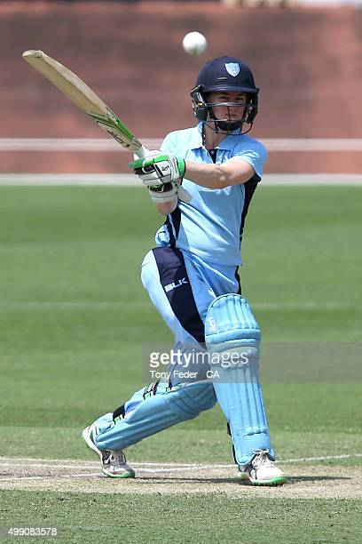 Rachael Haynes from NSW Breakers hits a shot for 4 runs during the WNCL Final match between the New South Wales and South Australia at Hurstville...