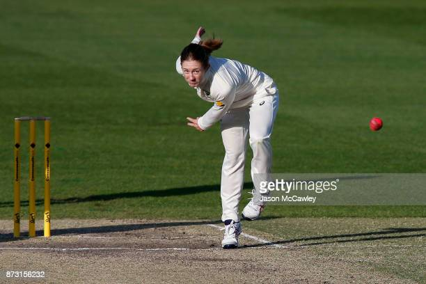 Rachael Haynes of Australia bowls during day four of the Women's Test match between Australia and England at North Sydney Oval on November 12 2017 in...