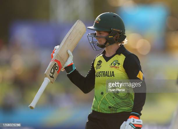 Rachael Haynes of Australia raises her bat as he leaves the ground after being dismissed for 60 runs during the ICC Women's T20 Cricket World Cup...