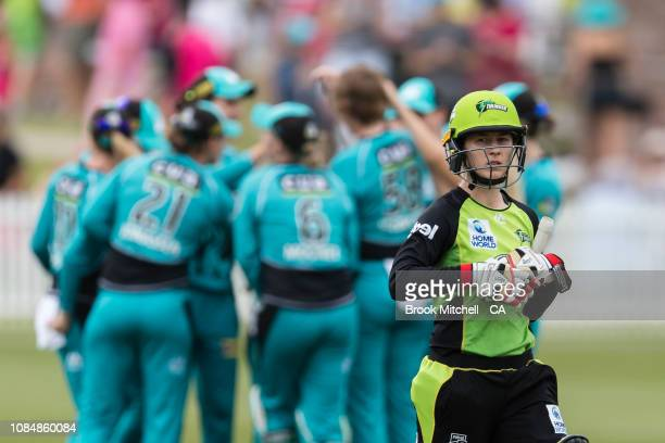 Rachael Haynes of the Sydney Thunder leaves the field after being dismissed for a duck during the Women's Big Bash League Semi Final against the...