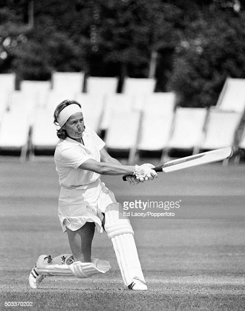 Rachael Heyhoe Flint batting for England during their match against an International XI at Hove 23rd June 1973