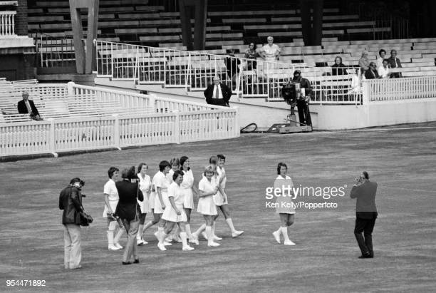 Rachael HeyhoeFlint leads the England Women team onto the field for the first time at the start of the 2nd One Day International between England...