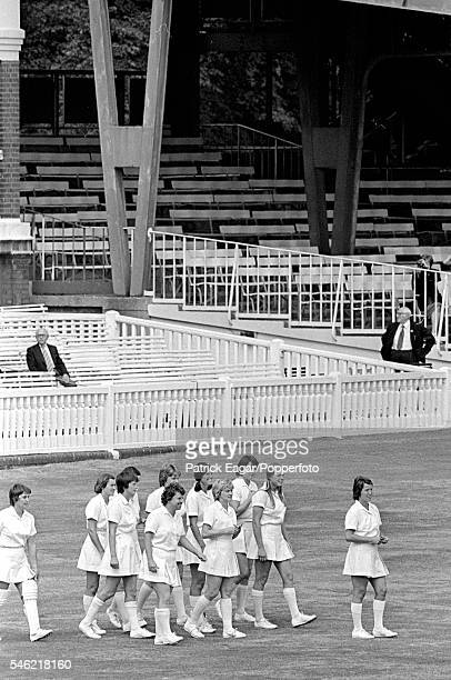Rachael HeyhoeFlint leads the England Women team out to field during the 2nd One Day International between England Women and Australia Women at...
