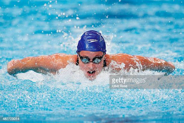 Rachael Kelly of Great Britain competes in the Women's 4x100m Freestyle Heats on day nine of the 16th FINA World Championships at the Kazan Arena on...