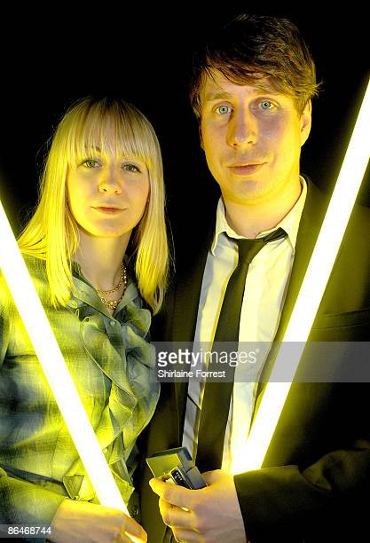 Rachael Kichenside of Run Toto Run with Dan Parrott pose offstage at Channel M's 'City Life Social Session' at Urbis on May 6, 2009 in Manchester,...