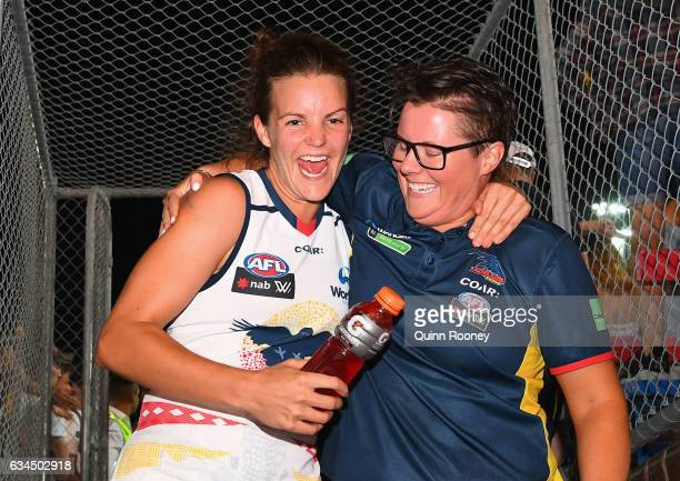 Rachael Killian and Bec Goddard the coach of the Crows celebrate winning the round two AFL Women's match between the Western Bulldogs and the...
