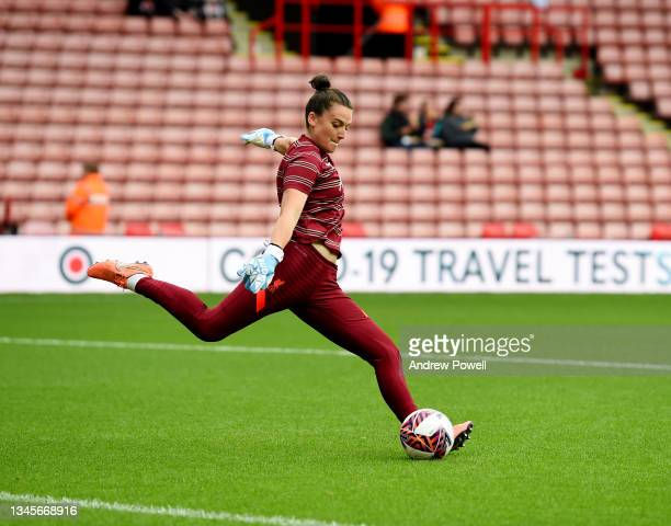 Rachael Laws of Liverpool Women during the Barclays FA Women's Championship match between Sheffield United Women and Liverpool Women at Bramall Lane...