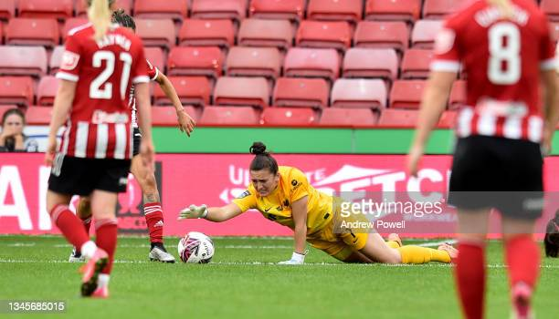 Rachael Laws of Liverpool Women reacts after Courtney Sweetman-Kirk of Sheffield United Women challenge during the Barclays FA Women's Championship...