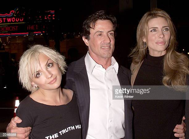 Rachael Leigh Cook, Sylvester Stallone and his wife Jennifer at the premiere of 'Get Carter' at the Bruin Theater, Westwood, Ca. 10/4/00. Photo by...