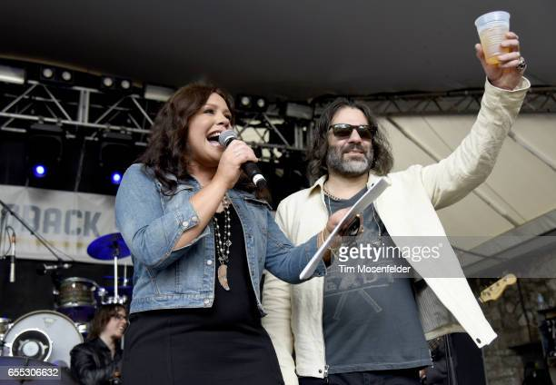 Rachael Ray and John Cusimano address the audience during the Rachael Ray Feedback party at Stubb's BarBQue during the 2017 SXSW Conference And...