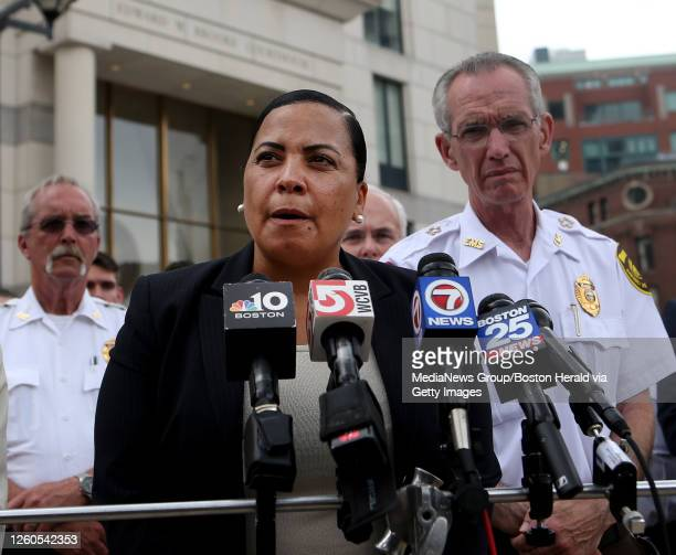 Rachael Rollins and EMS Chief James Hooley speak to the media after Julie Tejeda appeared in Boston Municipal Court on charges related to the...