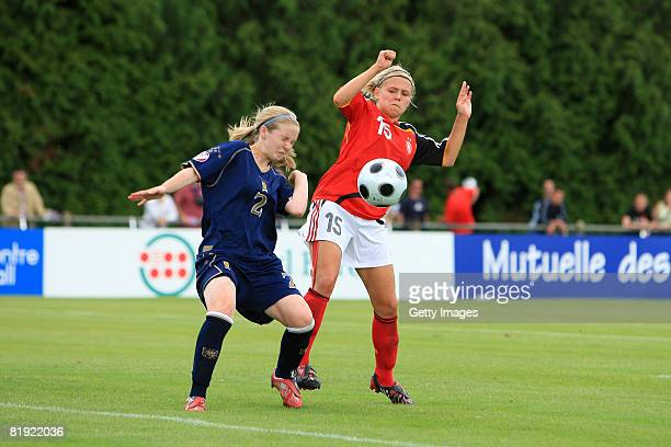 Rachael Small of Scotland and Julia Simic of Germany fight for the ball during the Women's U19 European Championship match between Scotland and...