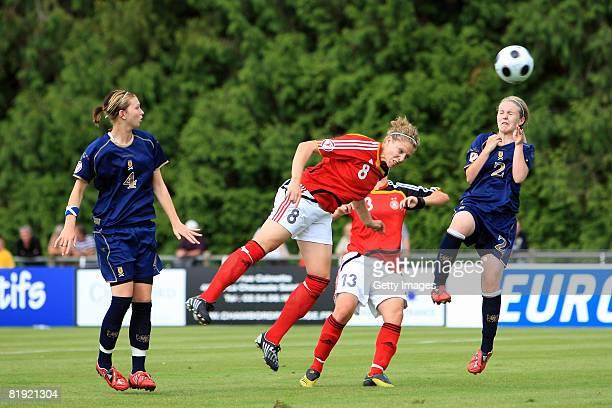 Rachael Small of Scotland and Kim Kulig of Germany during the Women's U19 European Championship match between Scotland and Germany at the Georges...