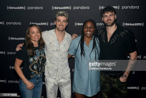 Rachael Spangler Andrew Taggart Tiana Lewis and Alex Pall attend an exclusive concert for SiriusXM and Pandora as part of Its Super Bowl Week Opening...