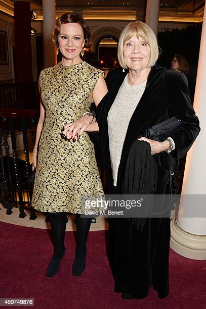 Rachael Stirling and Dame Diana Rigg attend a champagne reception at the 60th London Evening Standard Theatre Awards at the London Palladium on...