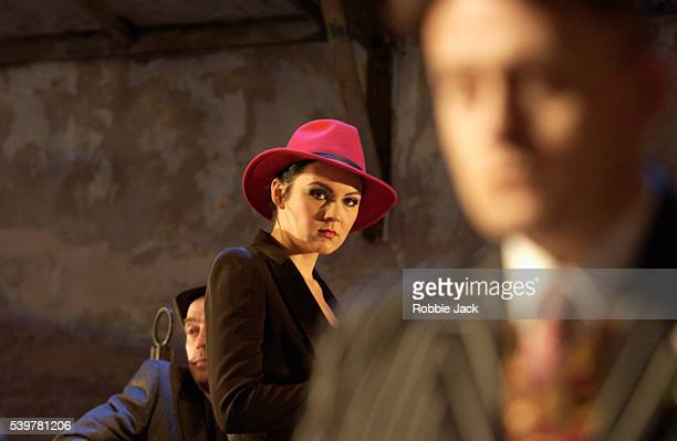 Rachael Stirling as Katherine in a production The Taming of the Shrew at Wilton's Music Hall London Playwright William Shakespeare