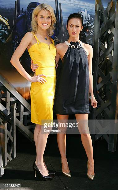 Rachael Taylor and Megan Fox during 'Transformers' Sydney Press Conference at Carriageworks Eveleigh in Sydney NSW Australia