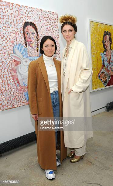 Rachael Wang and artist Tali Lennox attend Tali Lennox Exhibition Opening Reception at Catherine Ahnell Gallery on March 18 2015 in New York City
