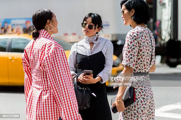 Rachael Wang and Margaret Zhang outside Proenza Schouler on September 12 2016 in New York City