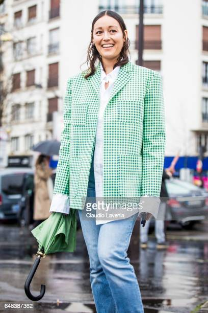 Rachael Wang is seen in the streets of Paris before the Balenciaga show during Paris Fashion Week Womenswear Fall/Winter 2017/2018 on March 5 2017 in...