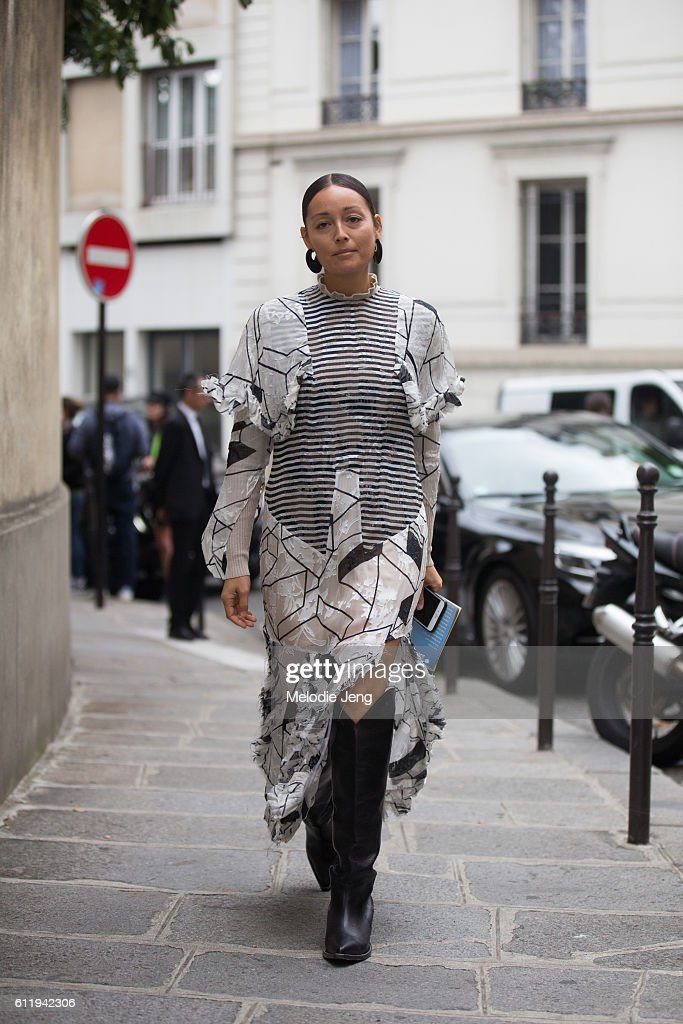Rachael Wang outside the Acne Studios show on October 1, 2016 in Paris, France.