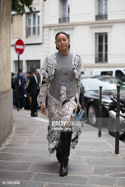 Rachael Wang outside the Acne Studios show on October 1 2016 in Paris France