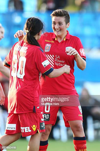 Racheal Quigley of Adelaide United is congratulated by teammate Alex Chidiac after Quigley scored a goal during the round 12 WLeague match between...