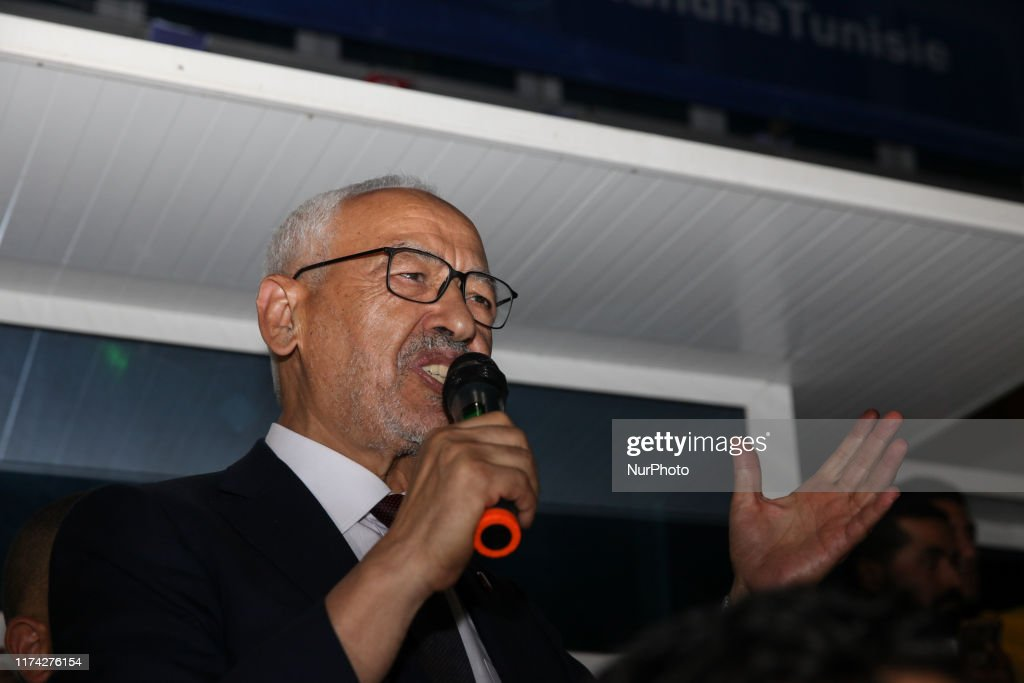 Rached Ghannouchi Holds Press Conference After Claiming Tunisian Parliament Victory In Tunis : News Photo