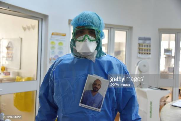Rached Jmai a medical staff member poses for a pic during International Nurses Day at Abdel Rahman Mami Hospital the central hospital for covid19...