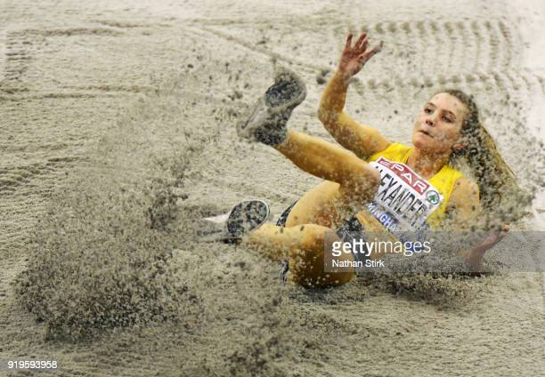 Rachel Alexander competes in the Womens Long Jump during the SPAR British Athletics Indoor Championships at Arena Birmingham on February 17 2018 in...