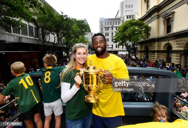 Rachel and Siya Kolis during the South African Springboks Rugby World Cup 2019 Champions Tour on November 11, 2019 in Cape Town, South Africa.