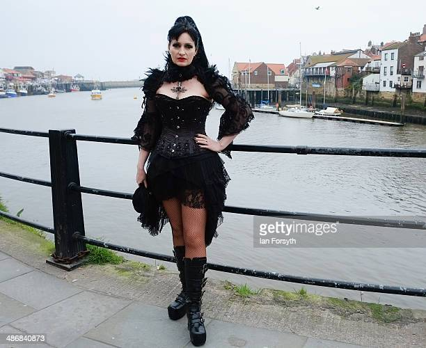 Rachel Barratt from Stockton visits the Goth weekend on April 26, 2014 in Whitby, England. The Whitby Goth weekend began in 1994 and happens twice...