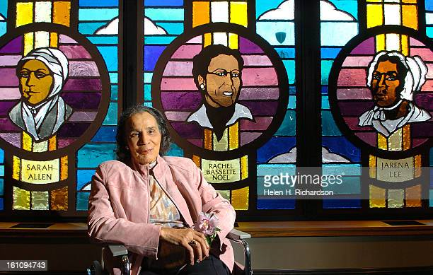 DENVER COFEBRUARY 6 2007 Rachel Bassette Noel <cq> 89 <cq> is pictured in front of a stained glass image of herself inside the Shorter AME Church at...